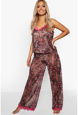 Brown Plus Gemma Collins Chiffon Leopard Lace Trim PJ Set