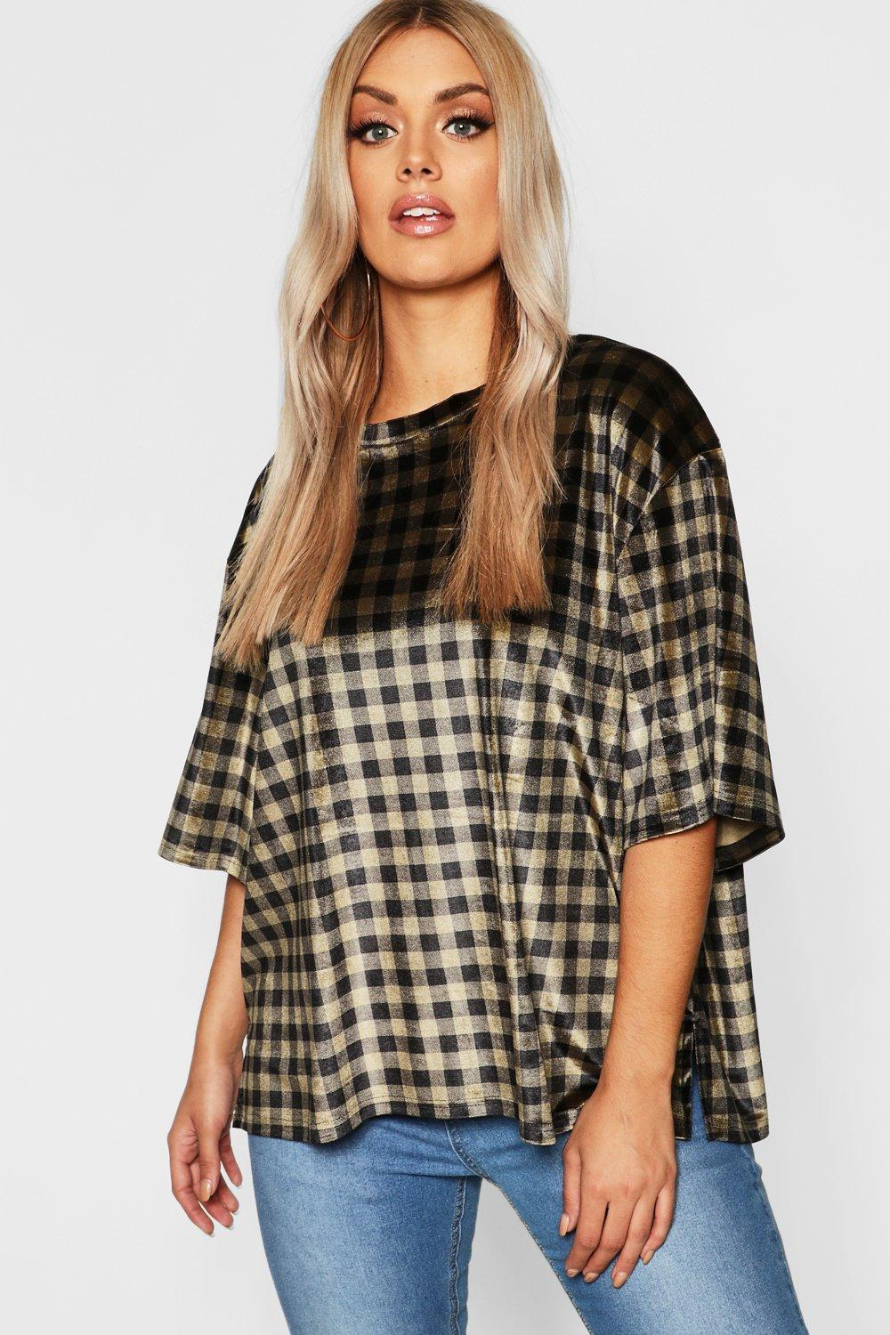 Plus Oversized Velvet Check T Shirt
