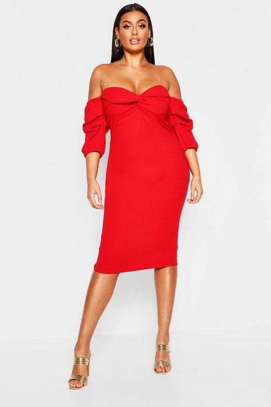 Plus Off The Shoulder Twist Detail Midi Dress