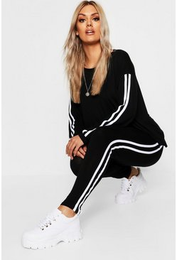 Womens Black Plus Side Stripe Loungewear Set