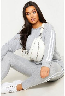 Grey Plus Side Stripe Loungewear Set
