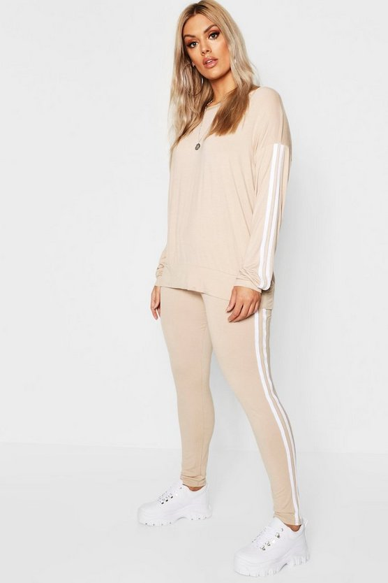 Womens Stone Plus Side Stripe Loungewear Set