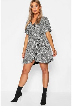 Womens Black Plus Dalmatian Print Ruffle Tea Dress