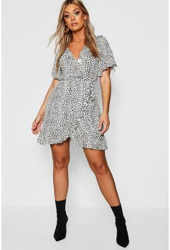 Womens Ivory Plus Dalmatian Print Ruffle Tea Dress