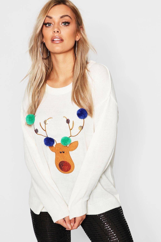 Plus Reindeer Pom Pom Sequin Christmas Jumper