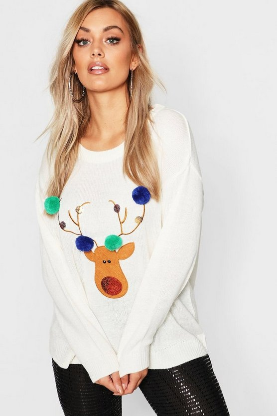 Cream Plus Reindeer Pom Pom Sequin Christmas Jumper