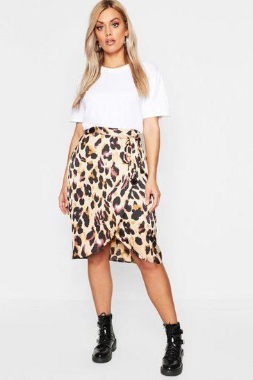Womens Brown Plus Leopard Satin Ruffle Wrap Skirt