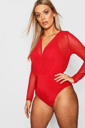 Red Plus Mesh 2 in 1 Strappy Bodysuit