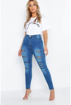 Plus jegging con strappi, Blu medio, Femmina