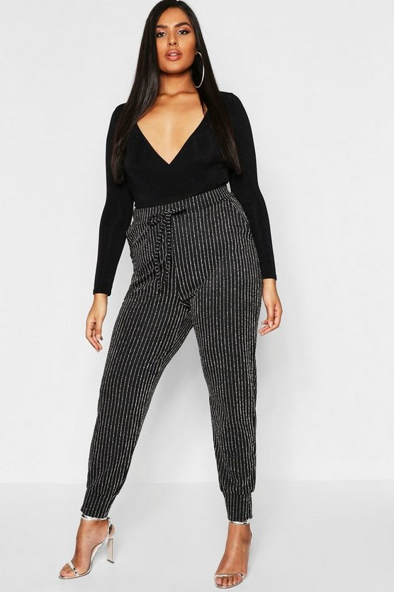 Plus Metallic Stripe Skinny Trouser