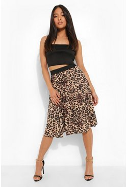 Womens Brown Petite Leopard Print Pleated Midi Skirt