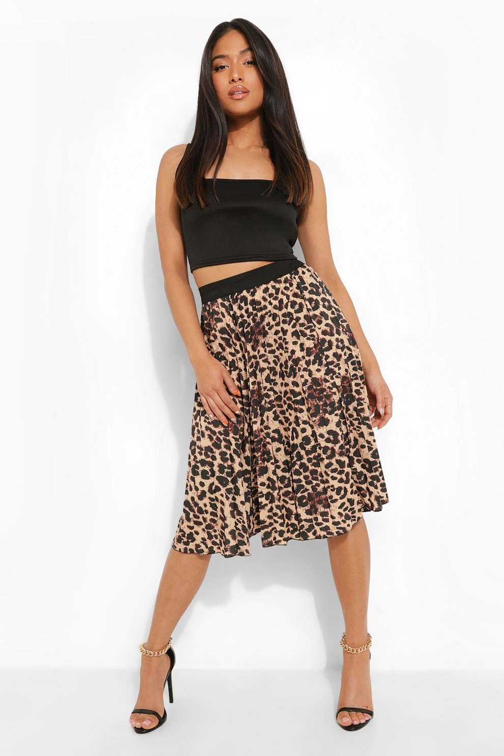 77bbca6db Petite Leopard Print Pleated Midi Skirt | Boohoo