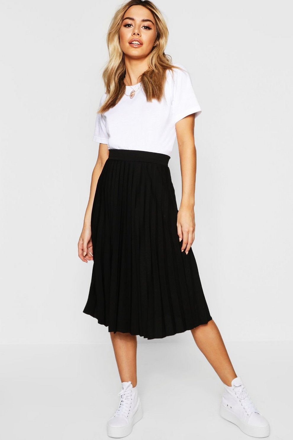 ec4127d93d83 Petite Pleated Midi Skirt | Boohoo