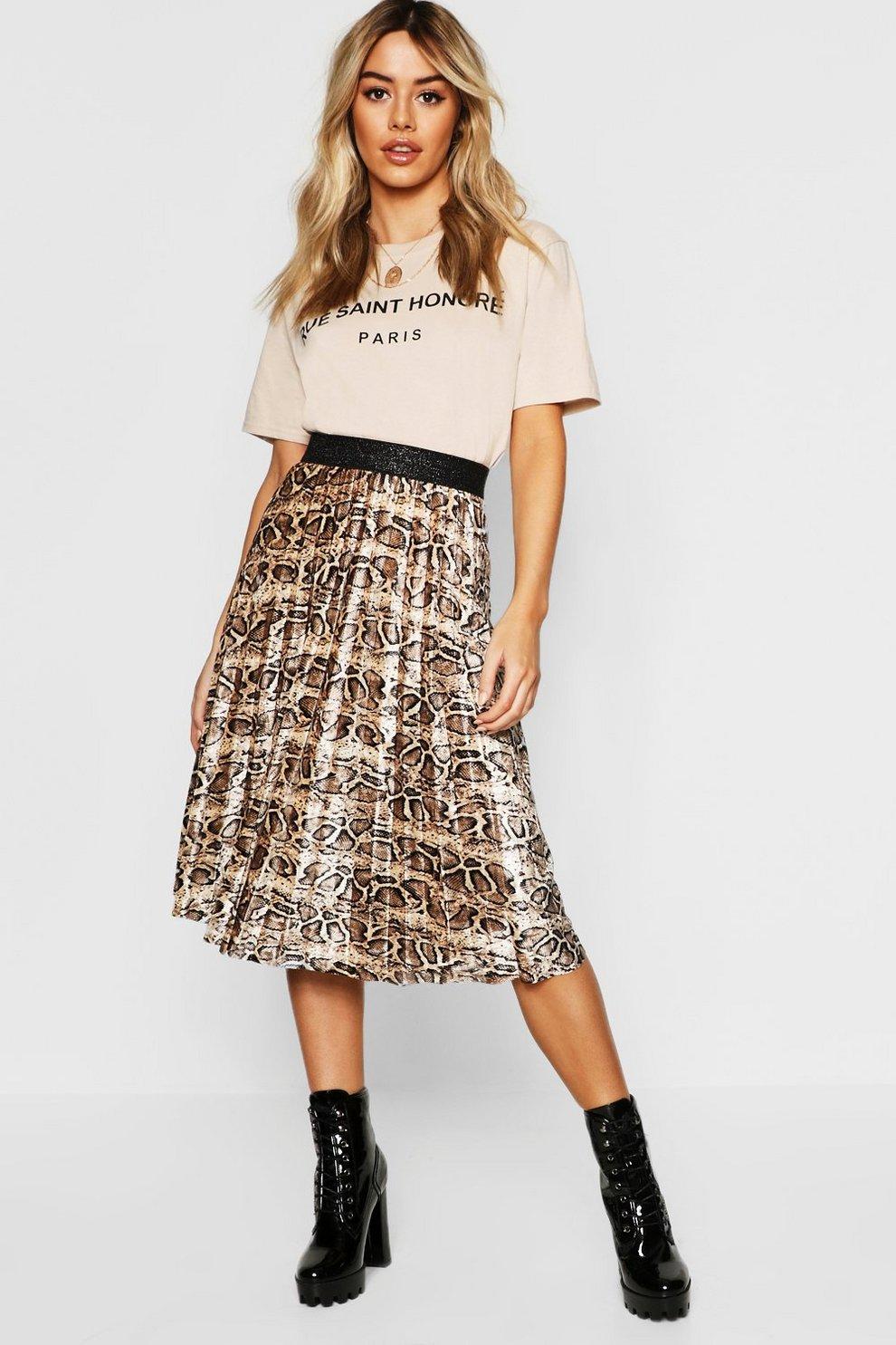 7e415afad9ba Petite Velvet Snake Print Pleated Midi Skirt