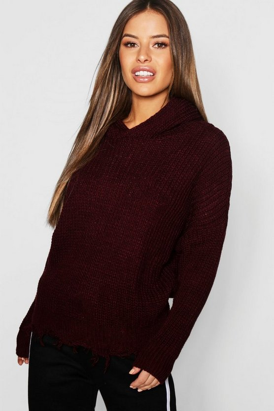 Petite Hooded Frayed Hem Jumper