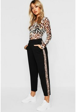 Womens Black Petite Leopard Print Stripe Cigarette Trouser
