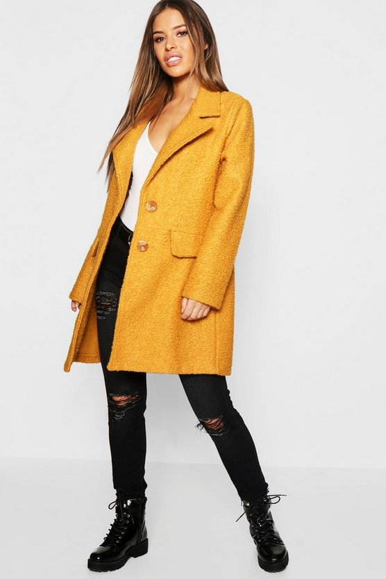 Petite Textured Button Front Chuck On Coat
