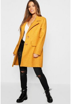 Womens Mustard Petite Textured Button Front Chuck On Coat