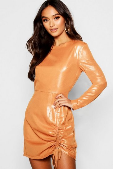 Womens Rust Petite Woven Metallic Ruched Detail Dress
