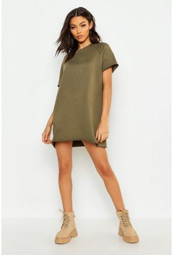 Womens Khaki Petite Oversized Sweat Dress