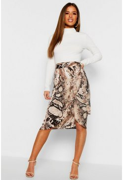 Womens Tan Petite Satin Snake Print Midi Skirt