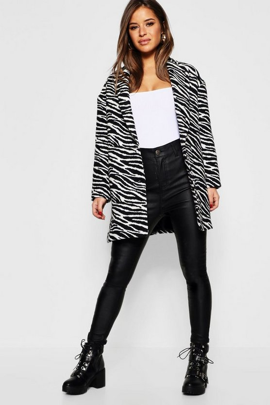 Petite Zebra Oversized Wool Look Coat
