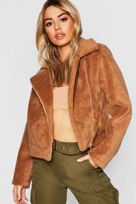 2f1fbf5892f petite bonded teddy aviator jacket