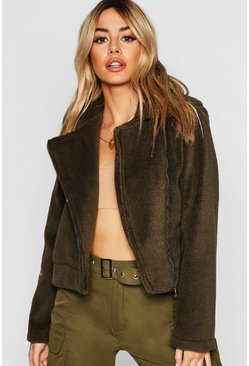 Womens Khaki Petite Bonded Teddy Aviator Jacket