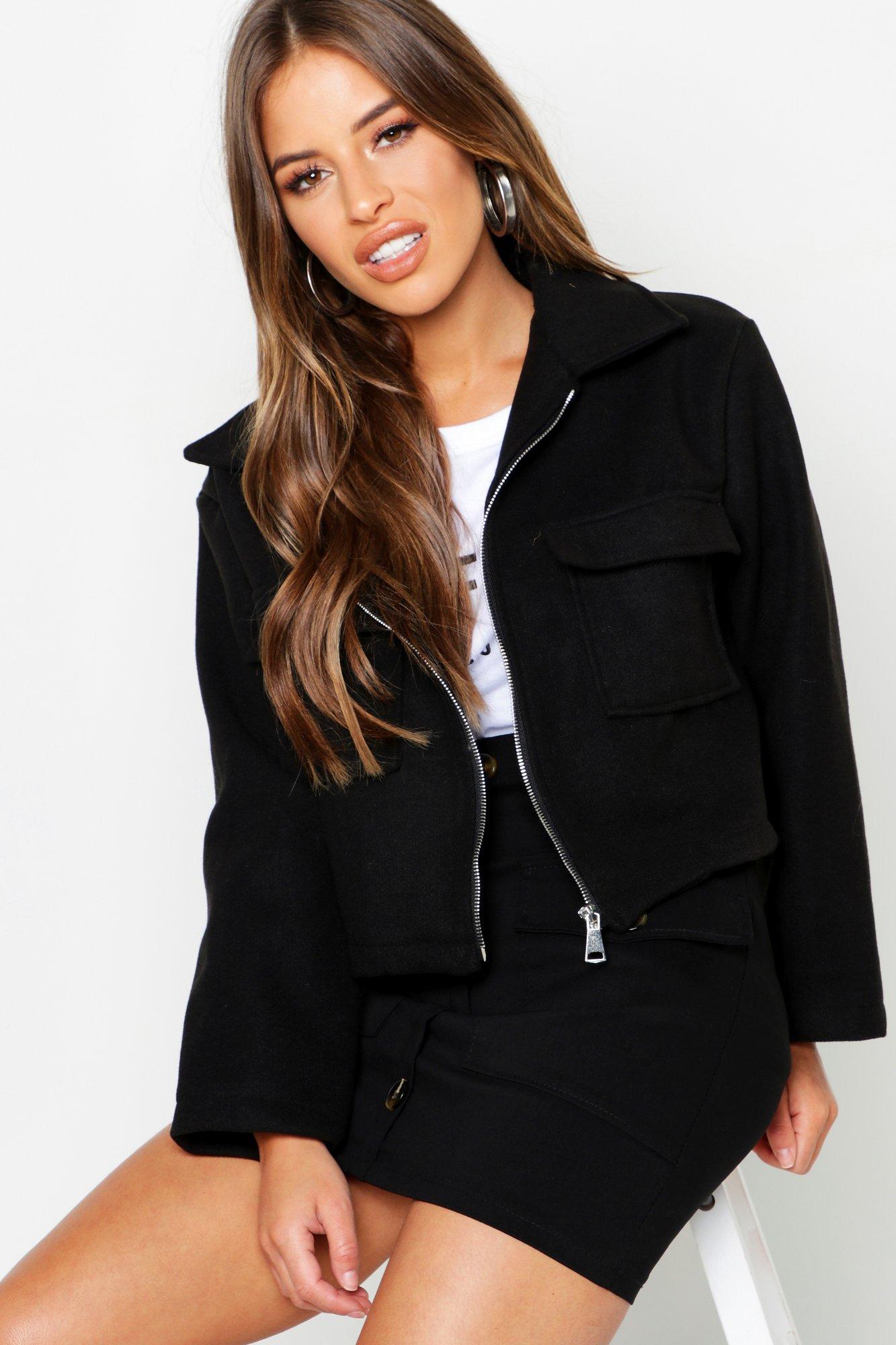 Petite Pocket Detail Wool Look Utility Jacket
