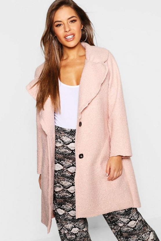 Petite Longline Collar Teddy Coat