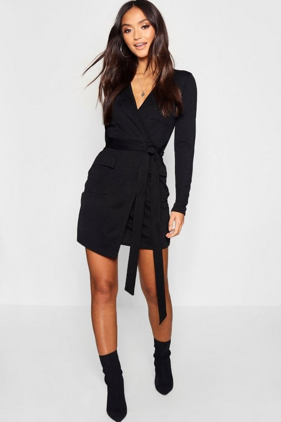 Petite Utility Pocket Wrap Front Dress