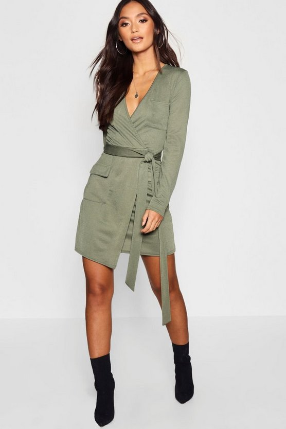 Womens Khaki Petite Utility Pocket Wrap Front Dress