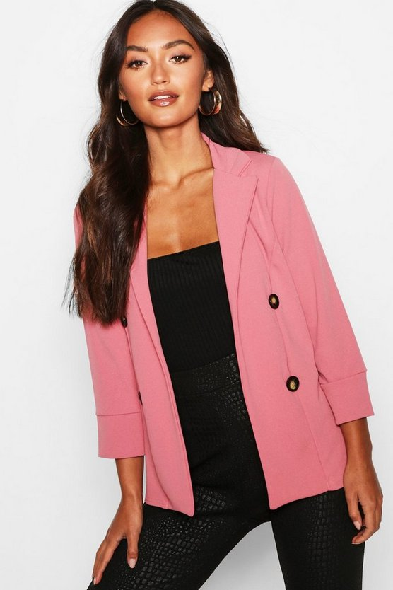 Womens Rose Petite Open Front Button Blazer