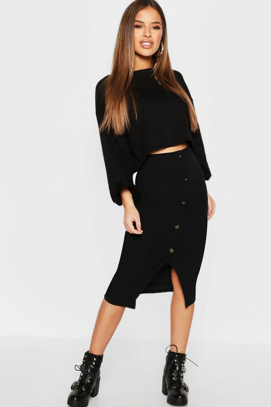 Womens Black Petite Ribbed Midi Skirt