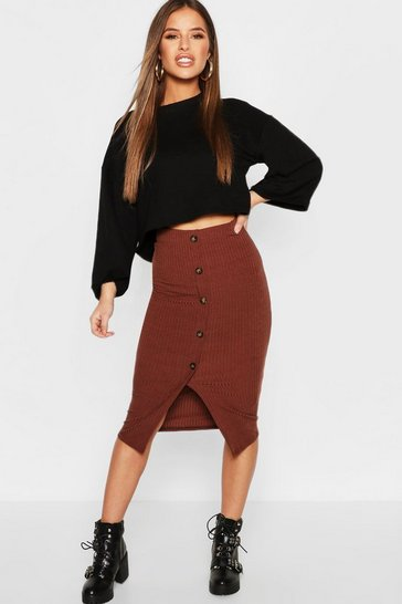 Womens Chocolate Petite Ribbed Midi Skirt