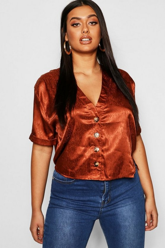 Plus Jaquard Satin Button Blouse