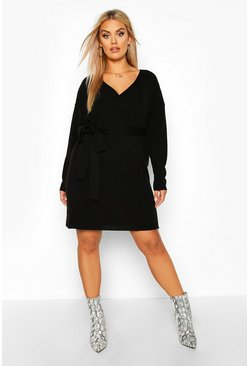 Womens Black Plus Knitted Off The Shoulder Wrap Dress