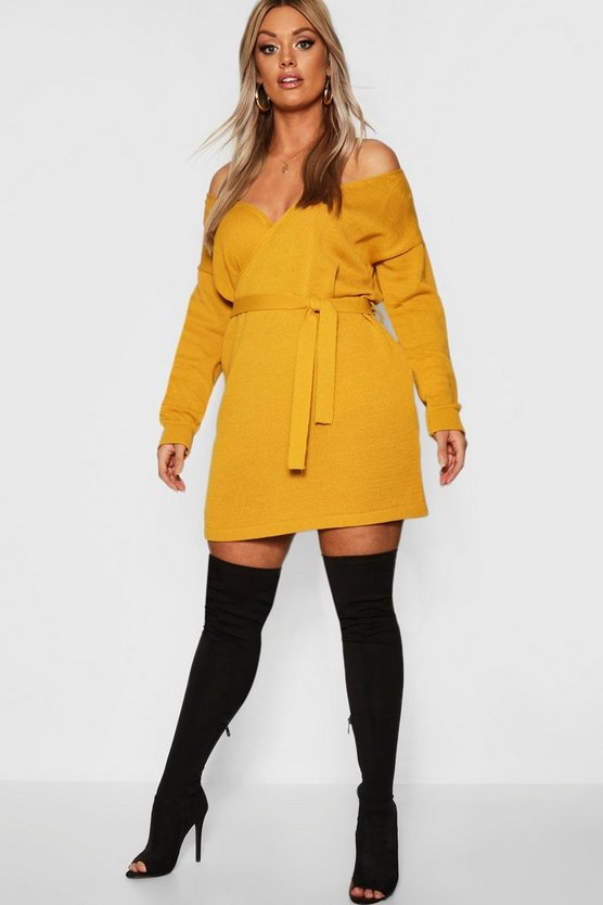 Womens Mustard Plus Knitted Off The Shoulder Wrap Dress