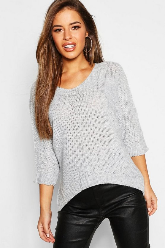 Petite Textured Knit Oversized Sweater