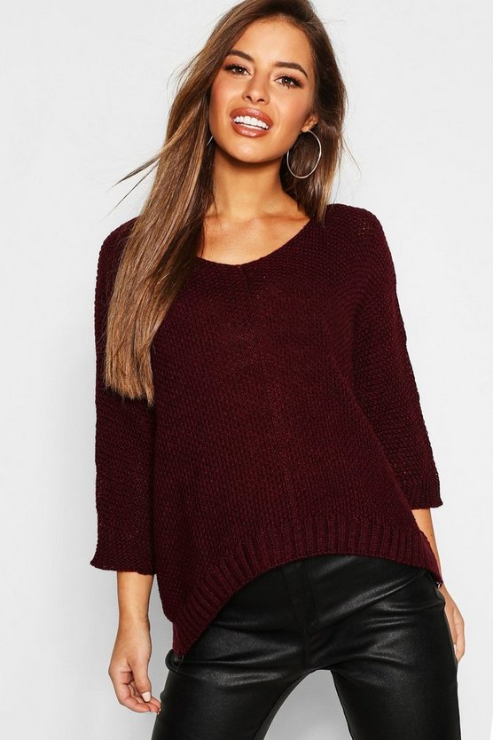Petite Textured Knit Oversized Jumper
