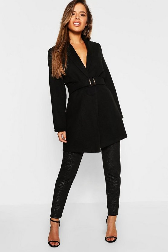 Womens Petite Belted Longline Wool Look Coat