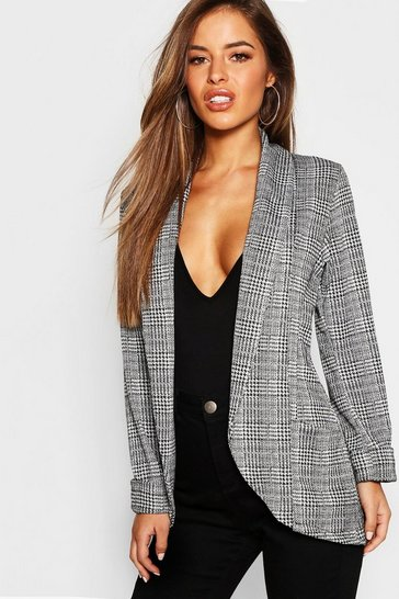 Grey Petite Check Pocket Detail Blazer