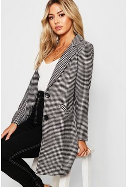 Dogtooth check Oversized Wool Look Coat, Black, Женские