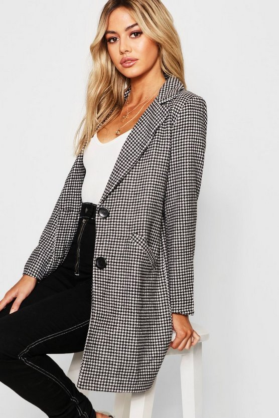 Petite Dogtooth check Oversized Wool Look Coat
