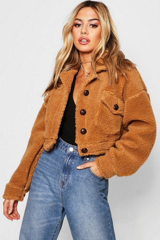 Petite Cropped Teddy Trucker Jacket