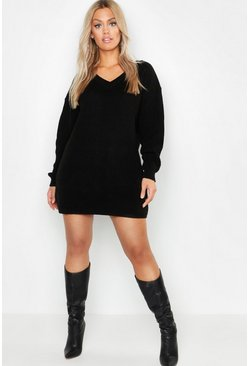 Womens Black Plus Rib V Neck Jumper Dress
