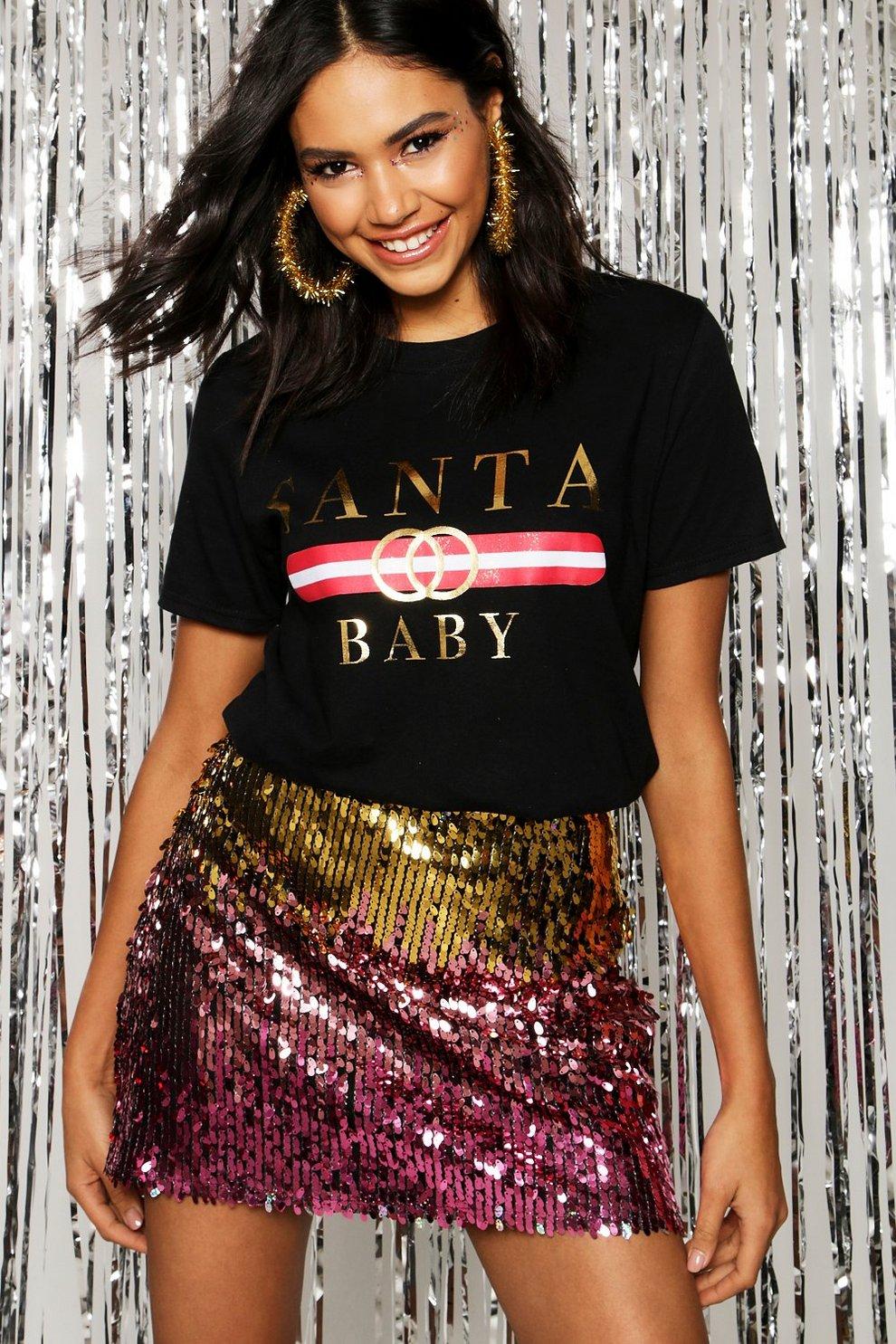 42f6253ca37 Christmas Santa Baby Slogan T-Shirt