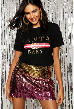 Womens Black Christmas Santa Baby Slogan T-Shirt