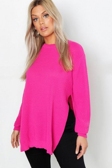 Womens Pink Plus Side Split Moss Stitch Tunic Jumper