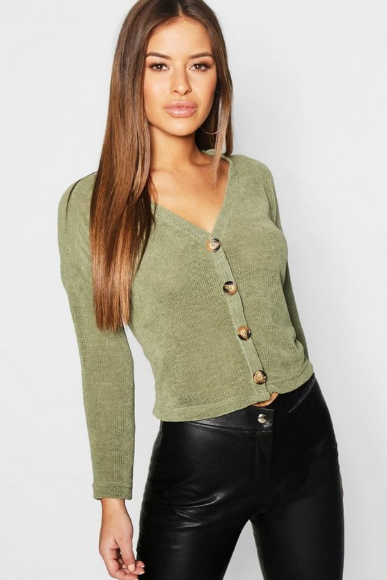 Petite Button Front Chenille Cardigan